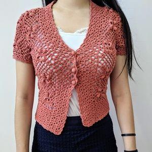Ann Taylor Orange Knit Shrug Cardigan
